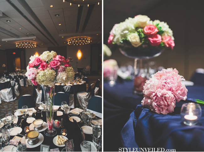 Navy Blue And Pink Reception