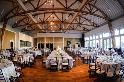 Reception Hall With Wood Beams Country Chic Decor
