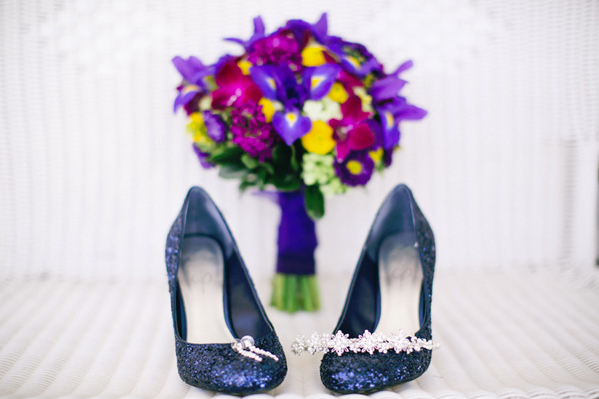 Blue Sapphire Shoes and Spring Bouquet