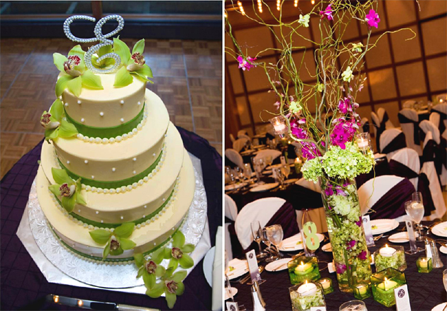 Apple Green Wedding Cake and Reception Centerpiece