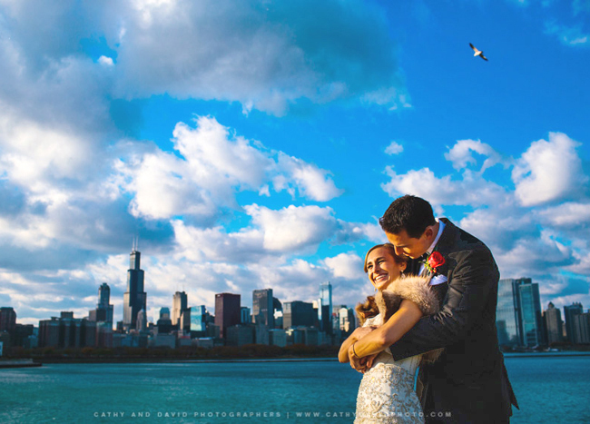 Chicago Skyline Wedding Photo