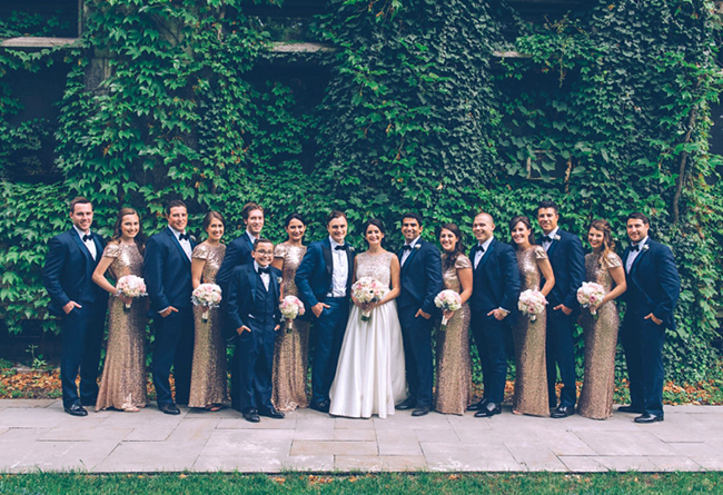 Navy and Gold Wedding Party