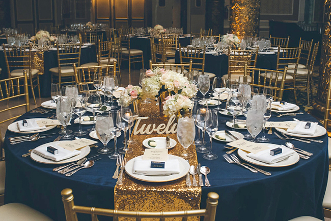 Navy and Gold Table Setting