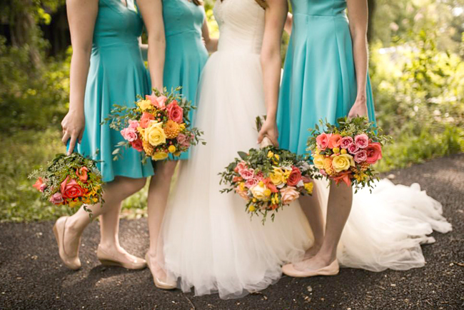 Colorful Outdoor Suburban Wedding