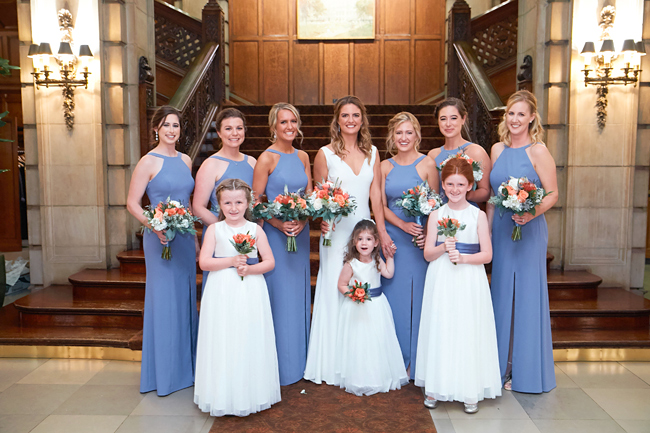 Coral, White and Periwinkle Blue Wedding