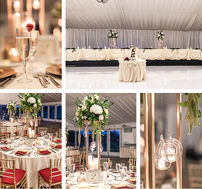 White, Burgundy and Gold Reception